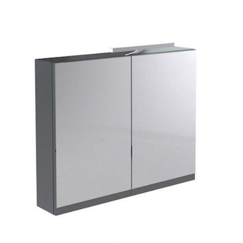 Kartell Ikon Mirrored Cabinet With Light And Shaver Socket - 600mm - Grey